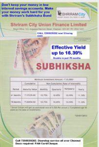 Shriram City Union Subhiksha Bond